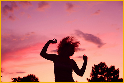 Sunset Party Dancing Girl Silhouette