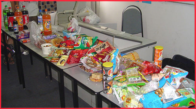 Table of junk food
